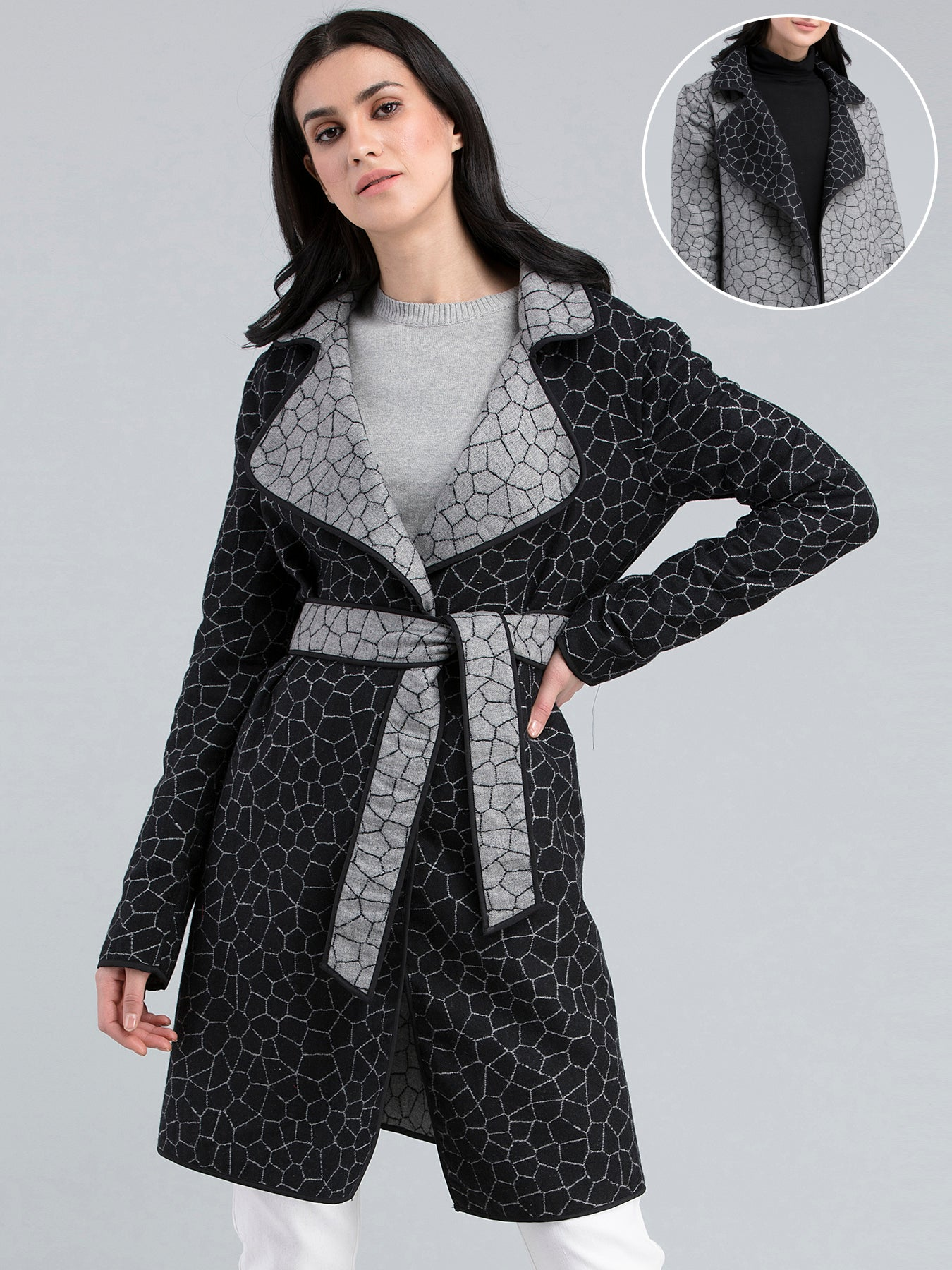 Jacquard Reversible Belted Overcoat - Black