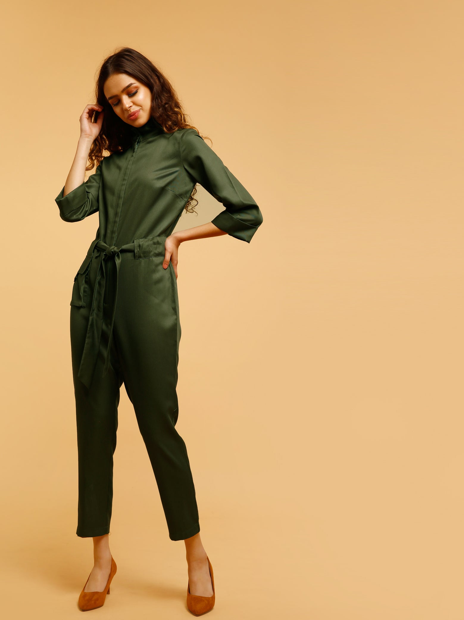 Jumpsuit With Concealed Zip And Tie Up - Olive