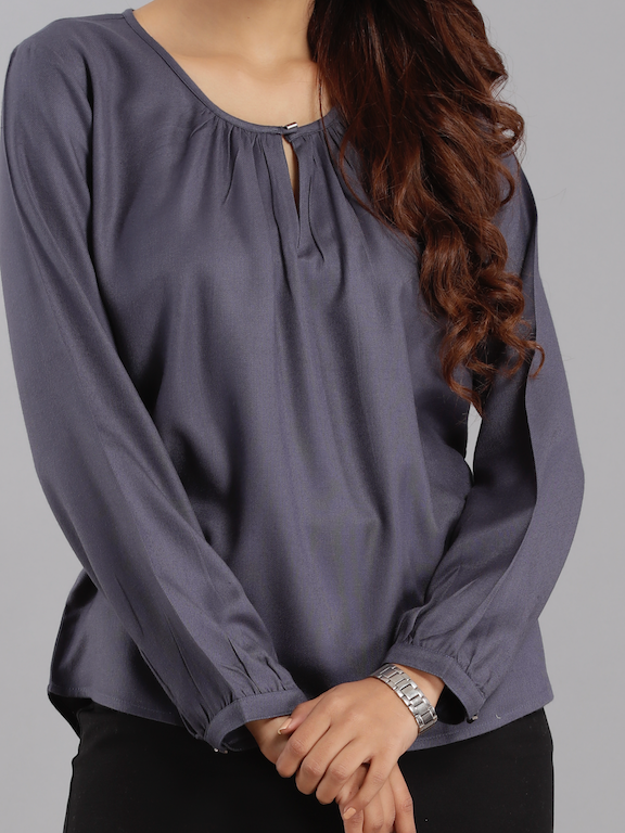 Viscose Keyhole Top - Grey