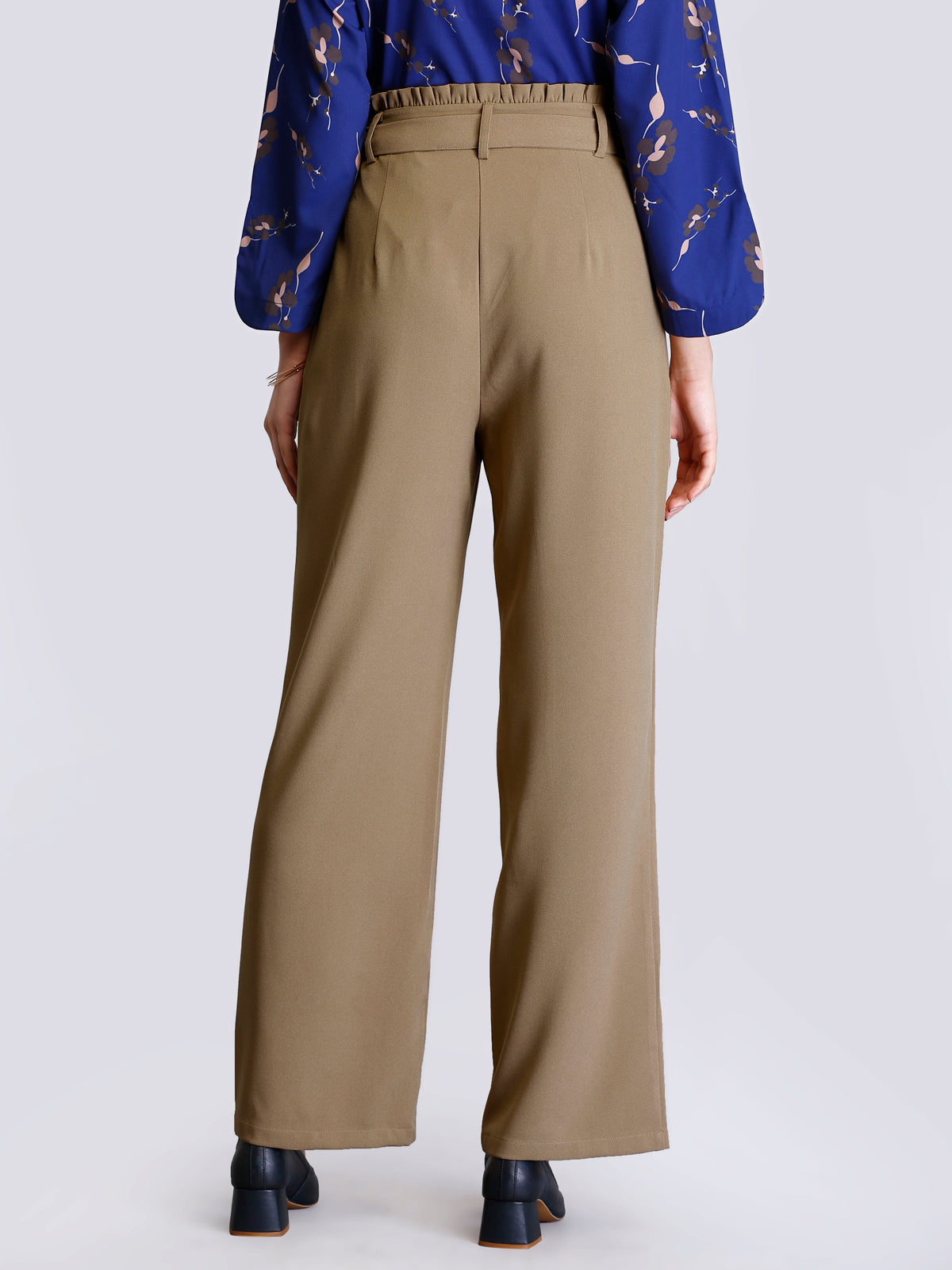 Paperbag Waist Tie Up Pants - Beige