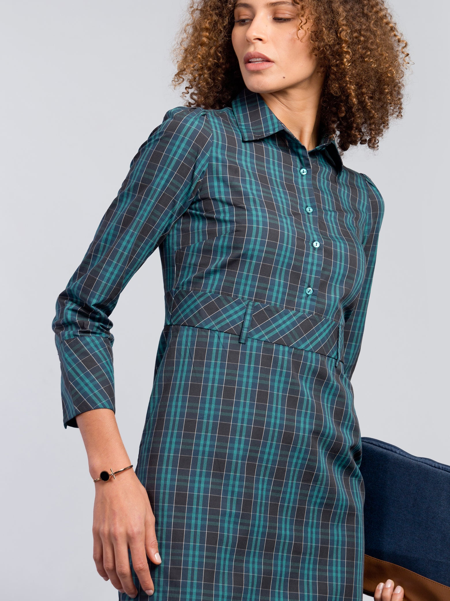 Plaid Below Knee Button Dress - Blue and Green
