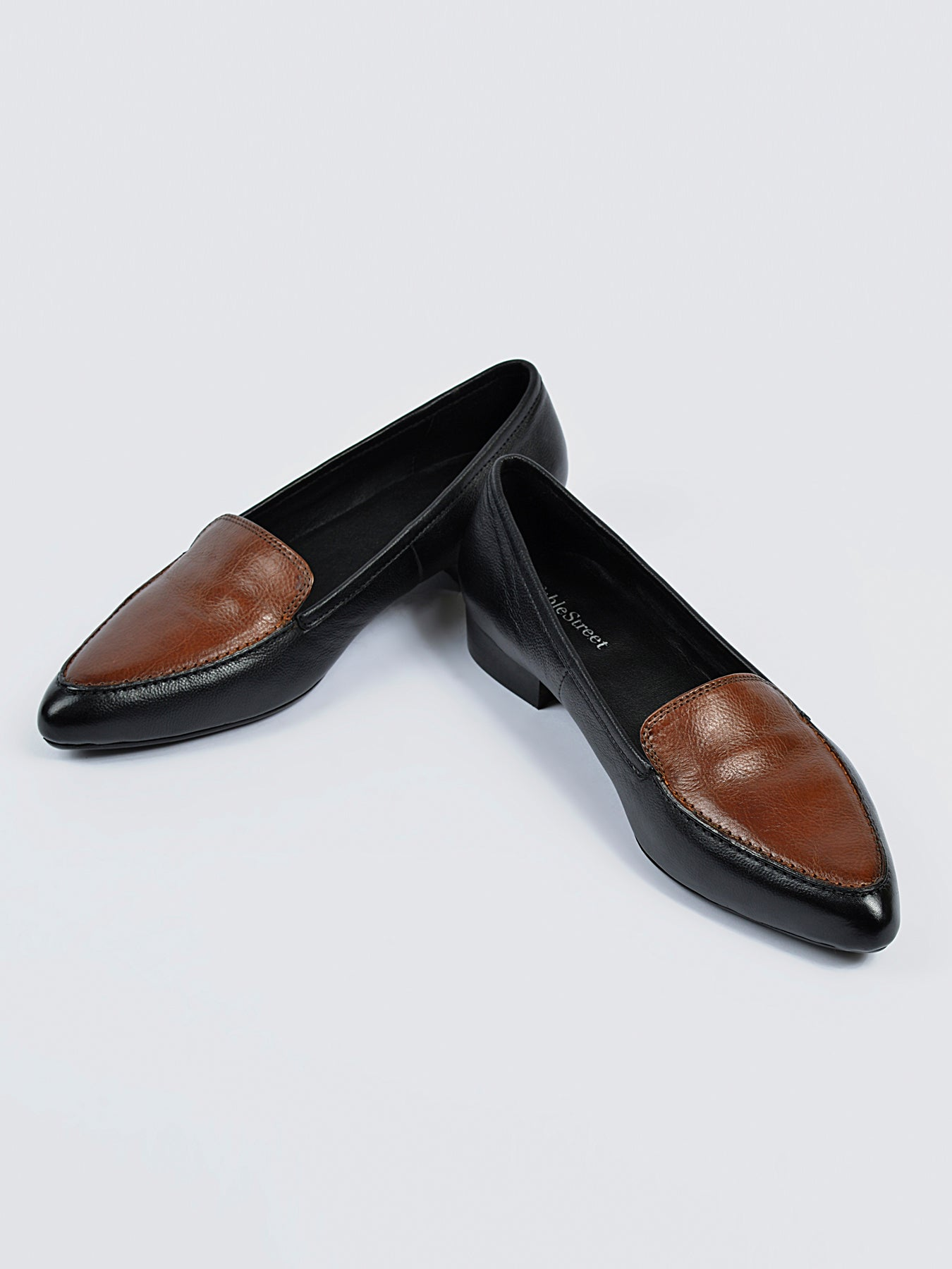 Pointed Toe Leather Loafers - Black and Brown