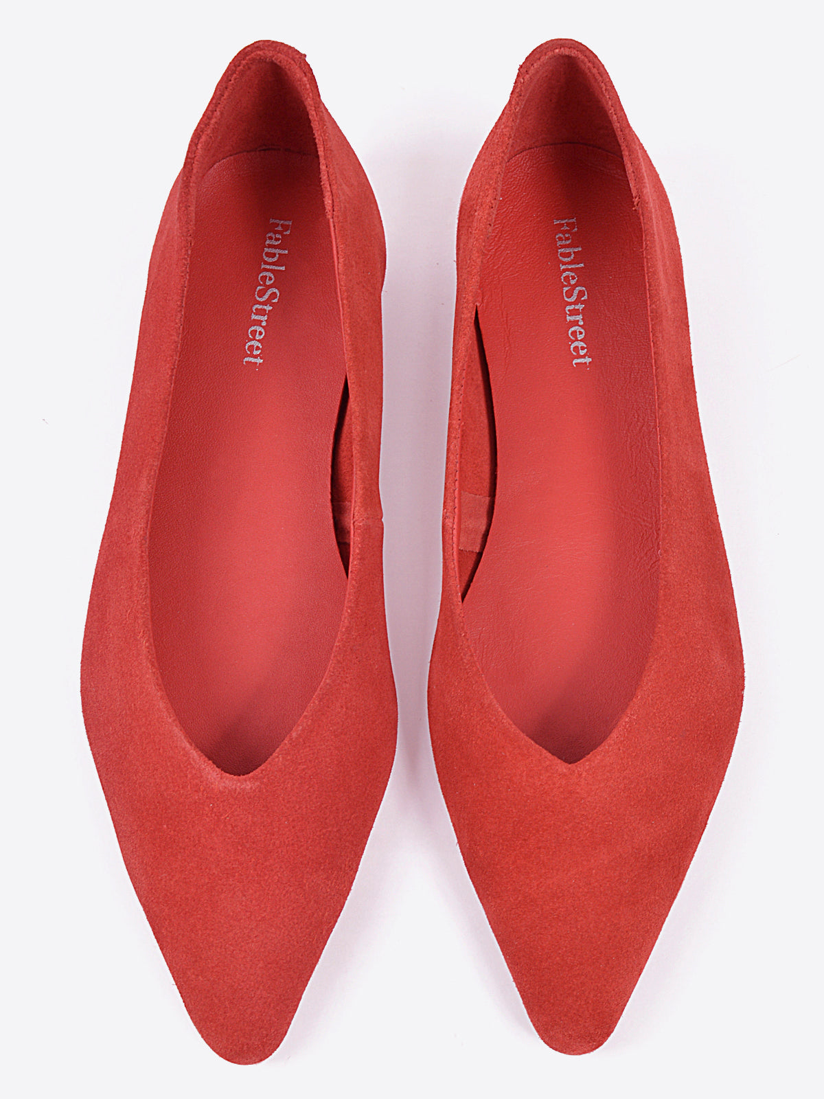 Pointed Toe Suede Flats - Red