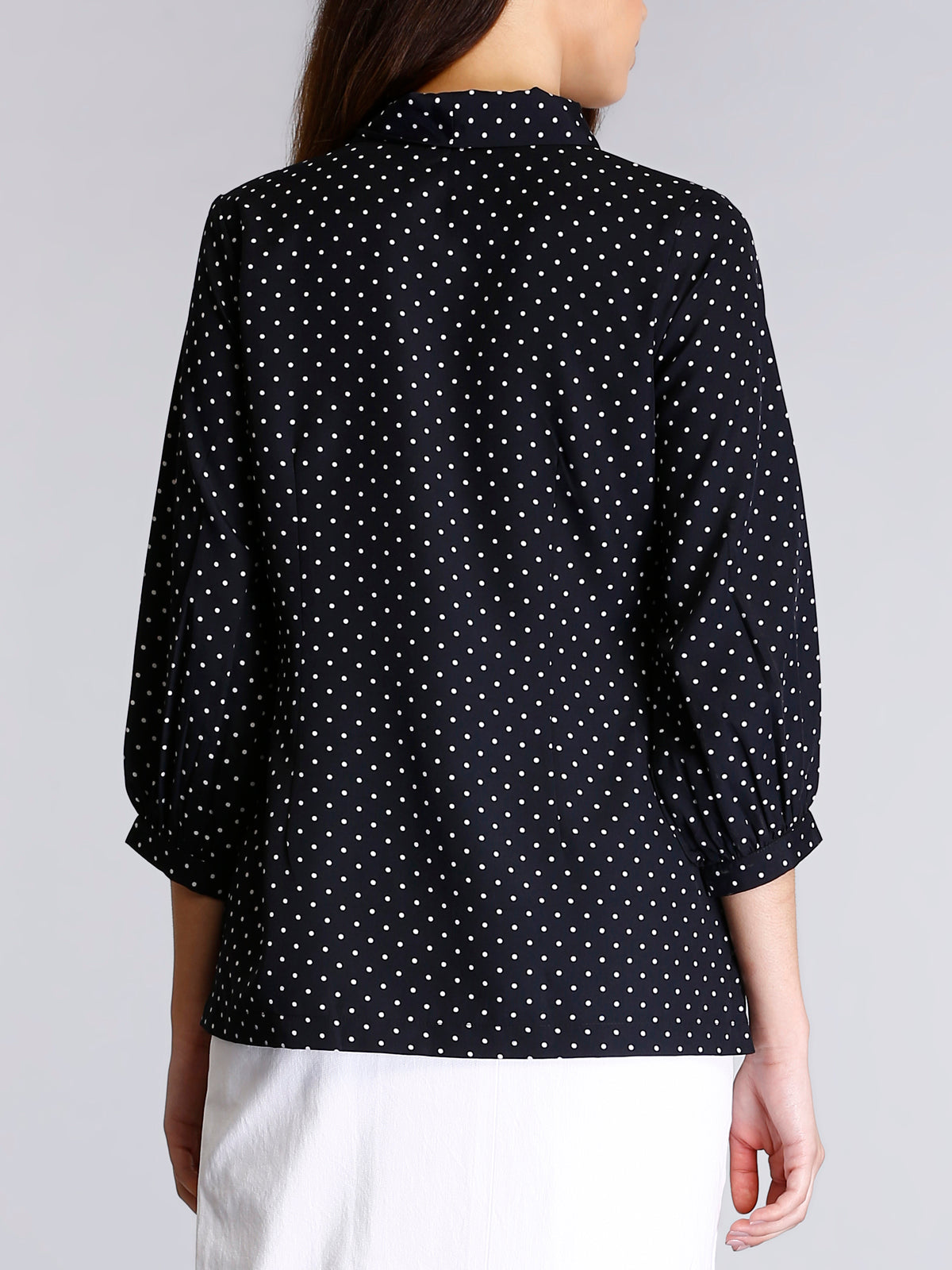 Pussy Bow Neck Polka Top - Black and White