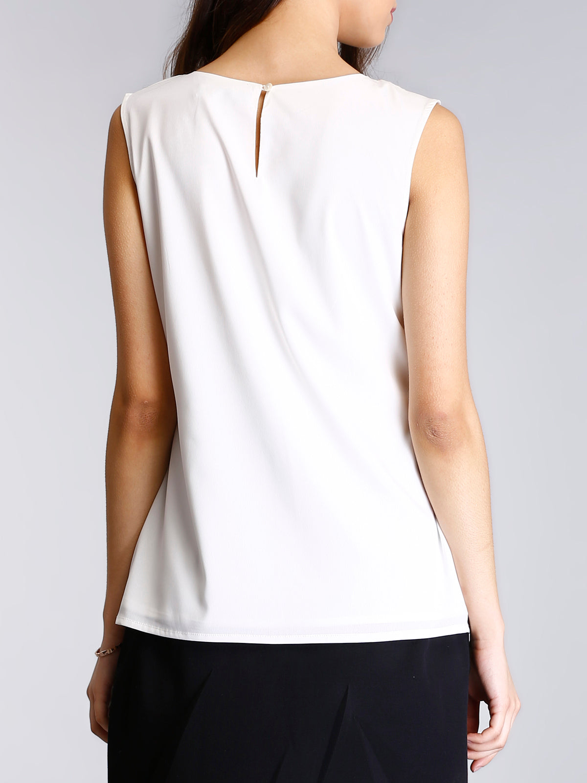 Round Neck Asymmetric Ruffle Top - White