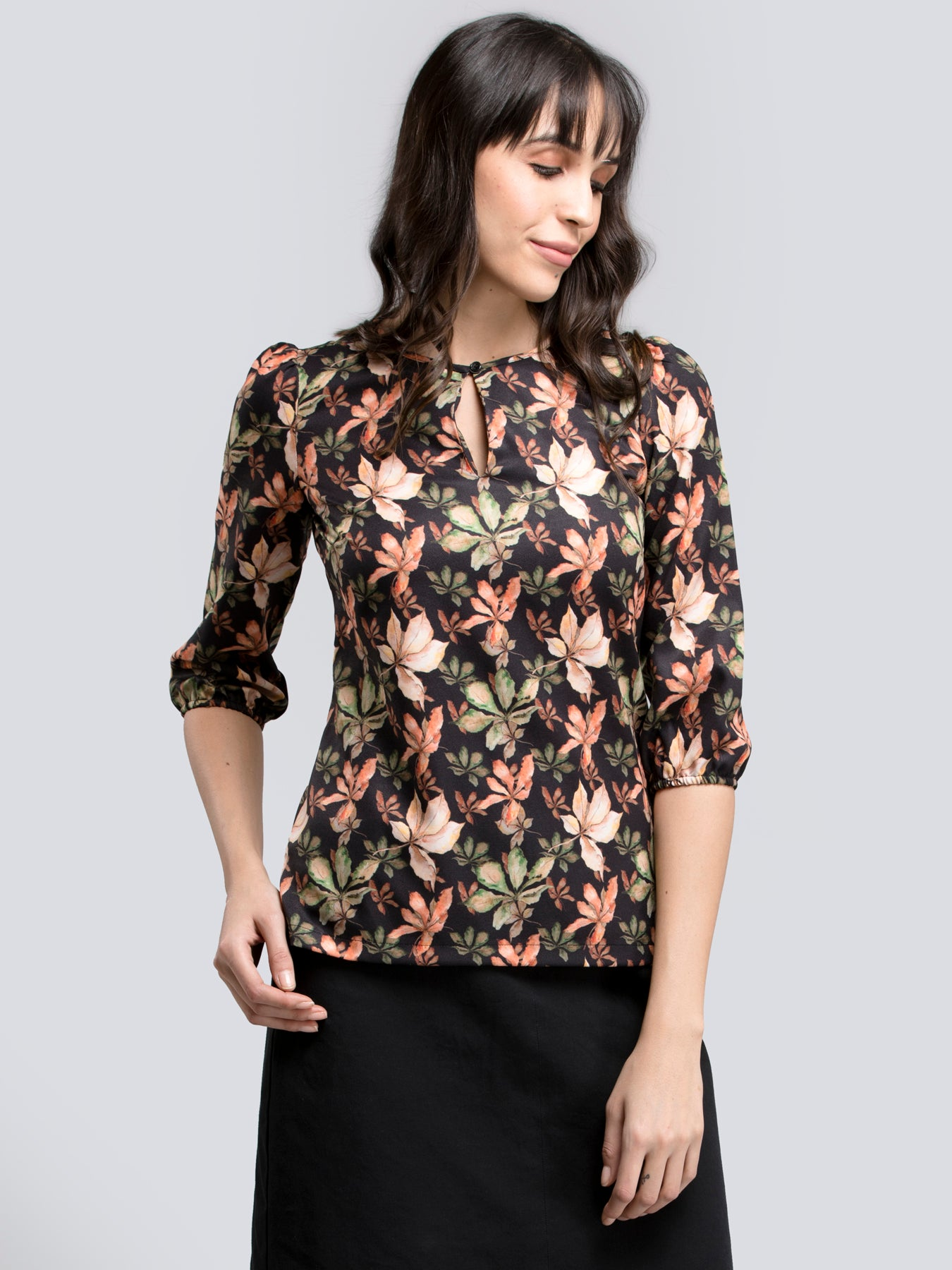 Round Neck Floral Top - Multicolour