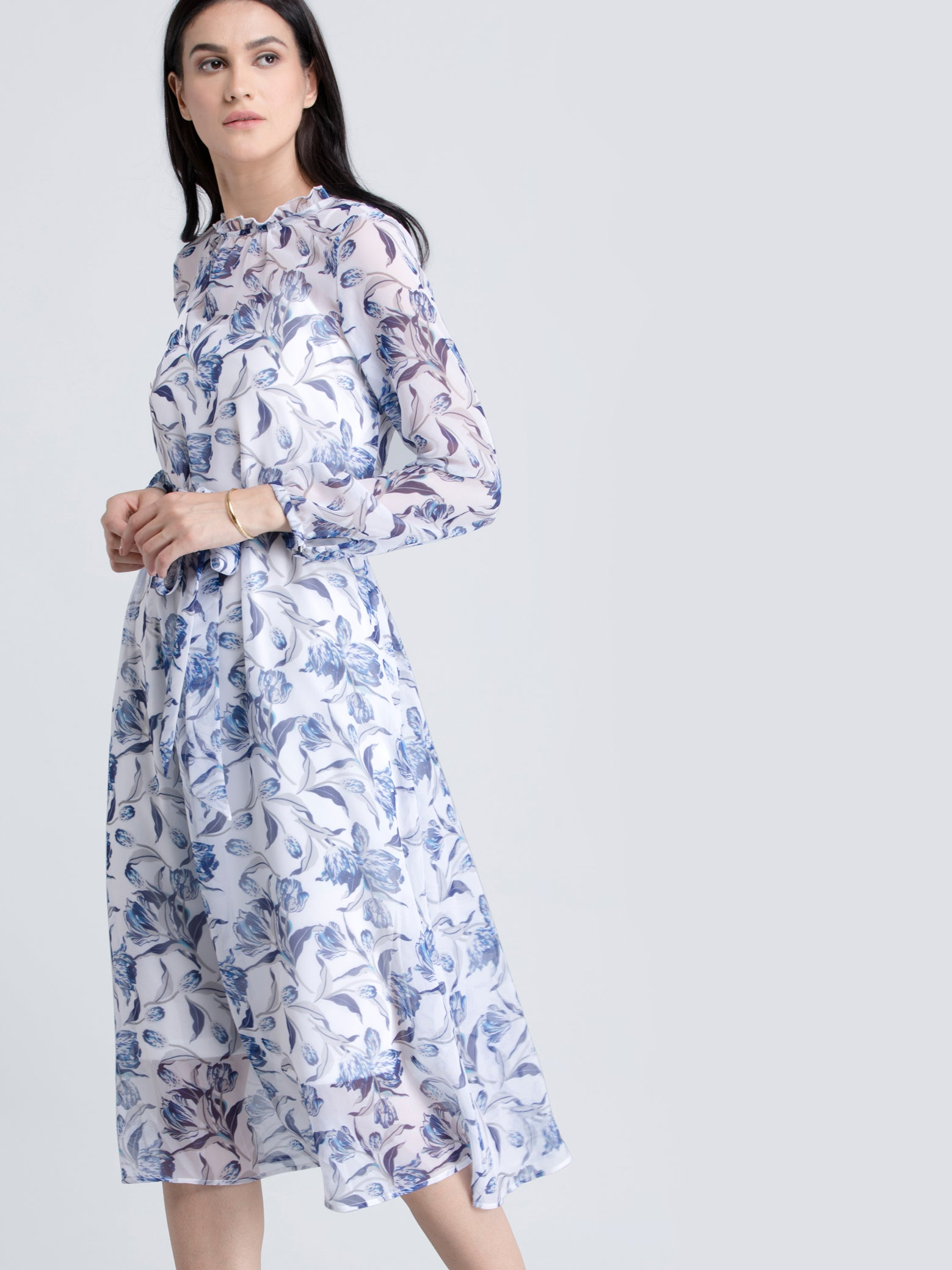 Ruffle Detail Floral Sheer Dress With Tie Up - Blue