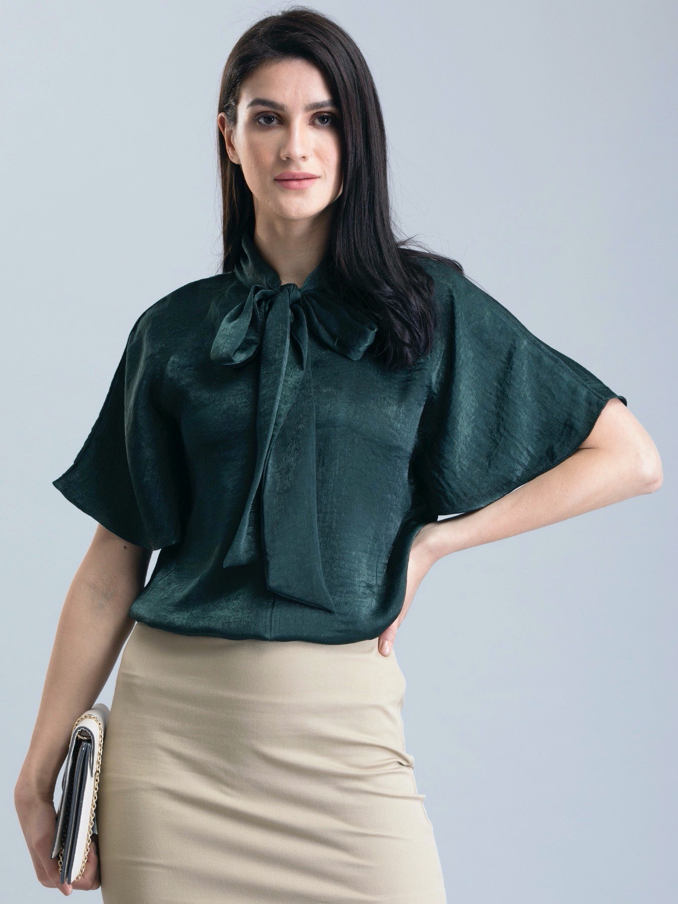 Satin Two Way Top - Green