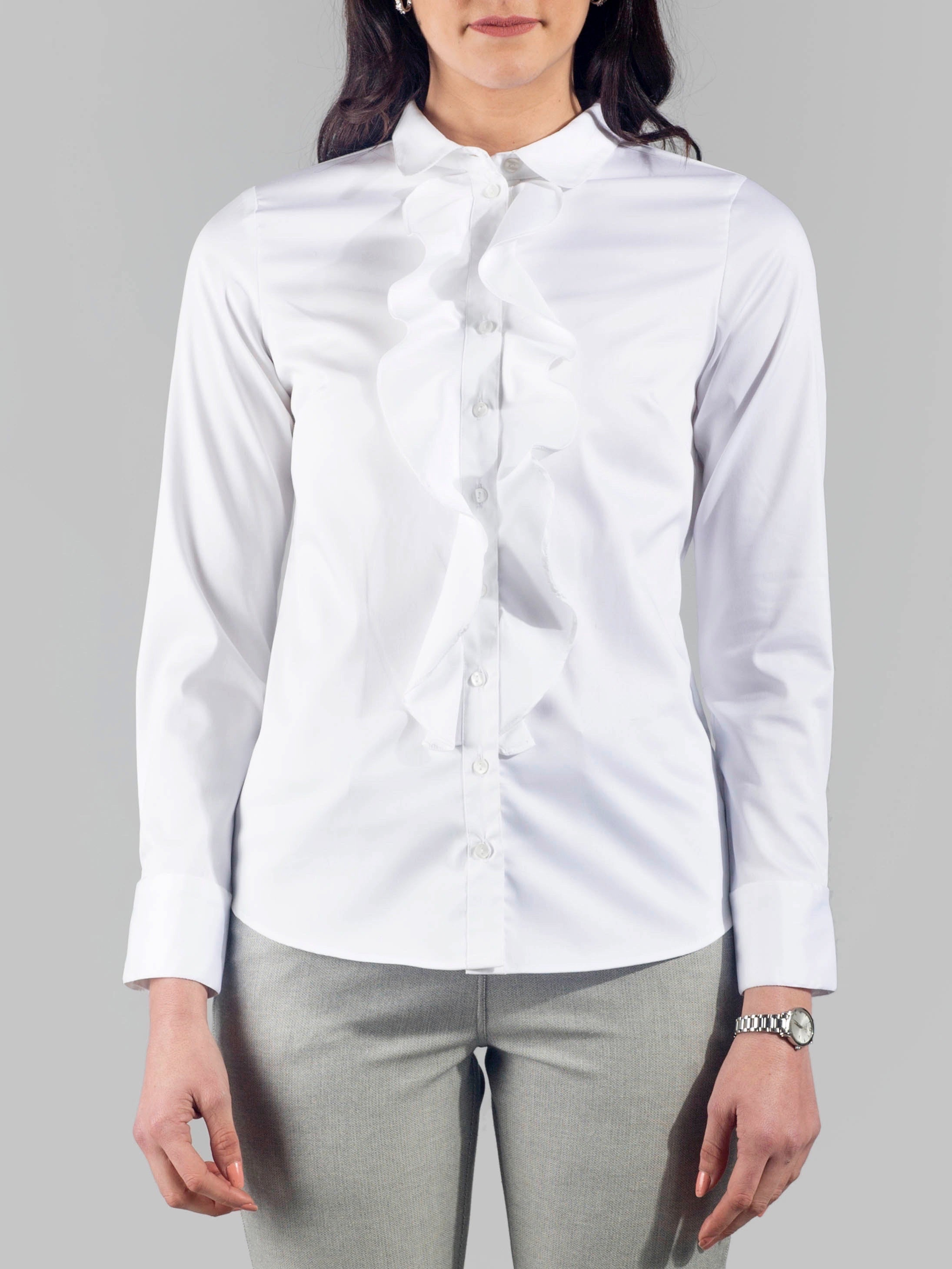 Club Collar Ruffle Placket Shirt - White