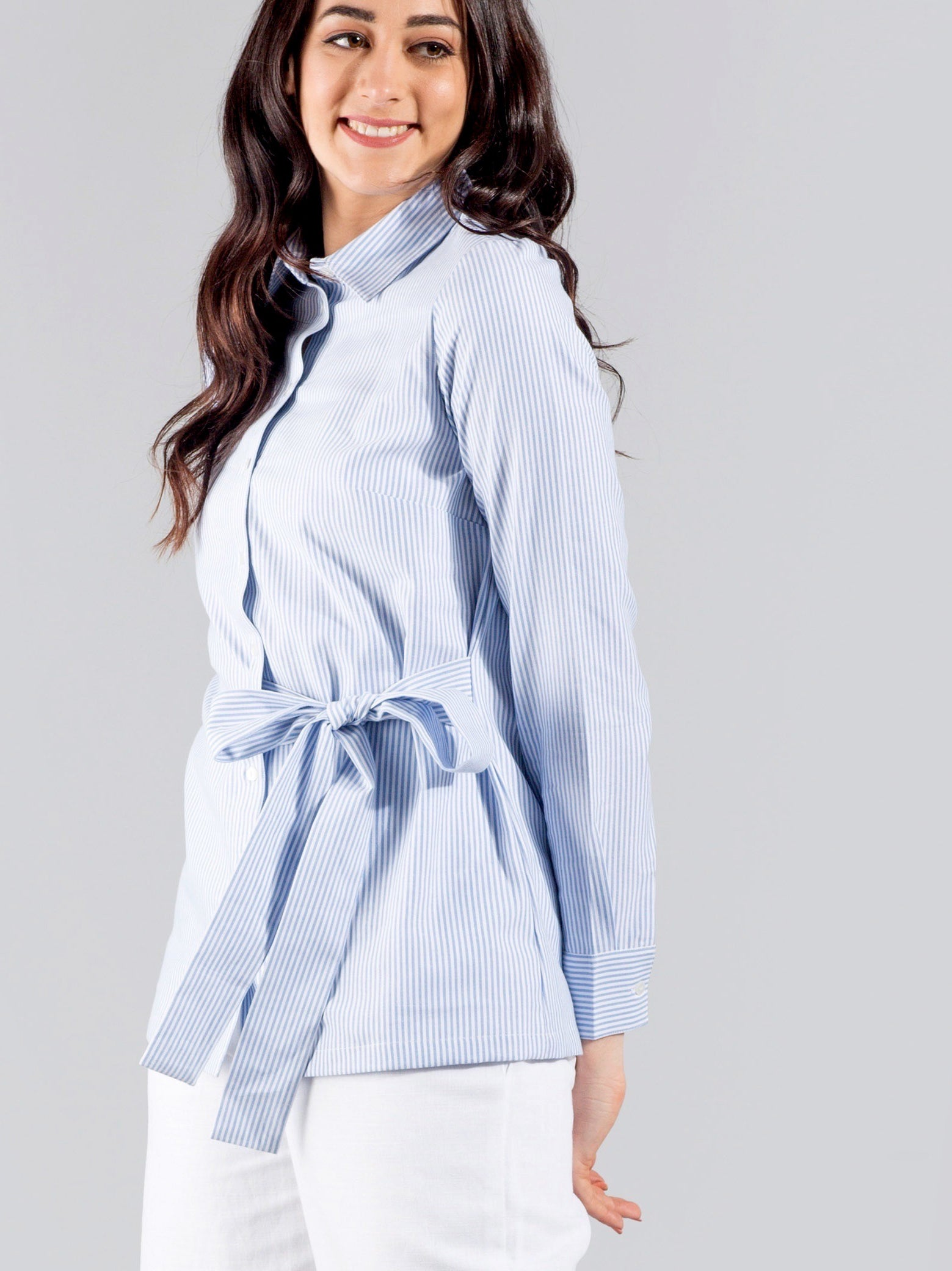 Classic Collar Striped Shirt With A Side Belt - Blue & White