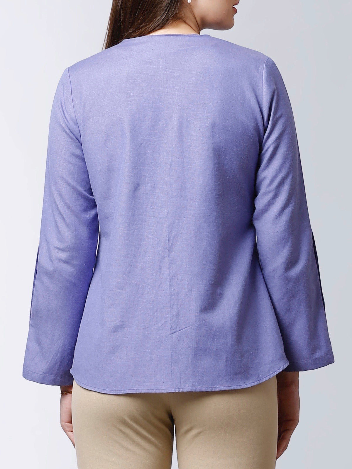 Shirt With Bell Sleeves - Blue