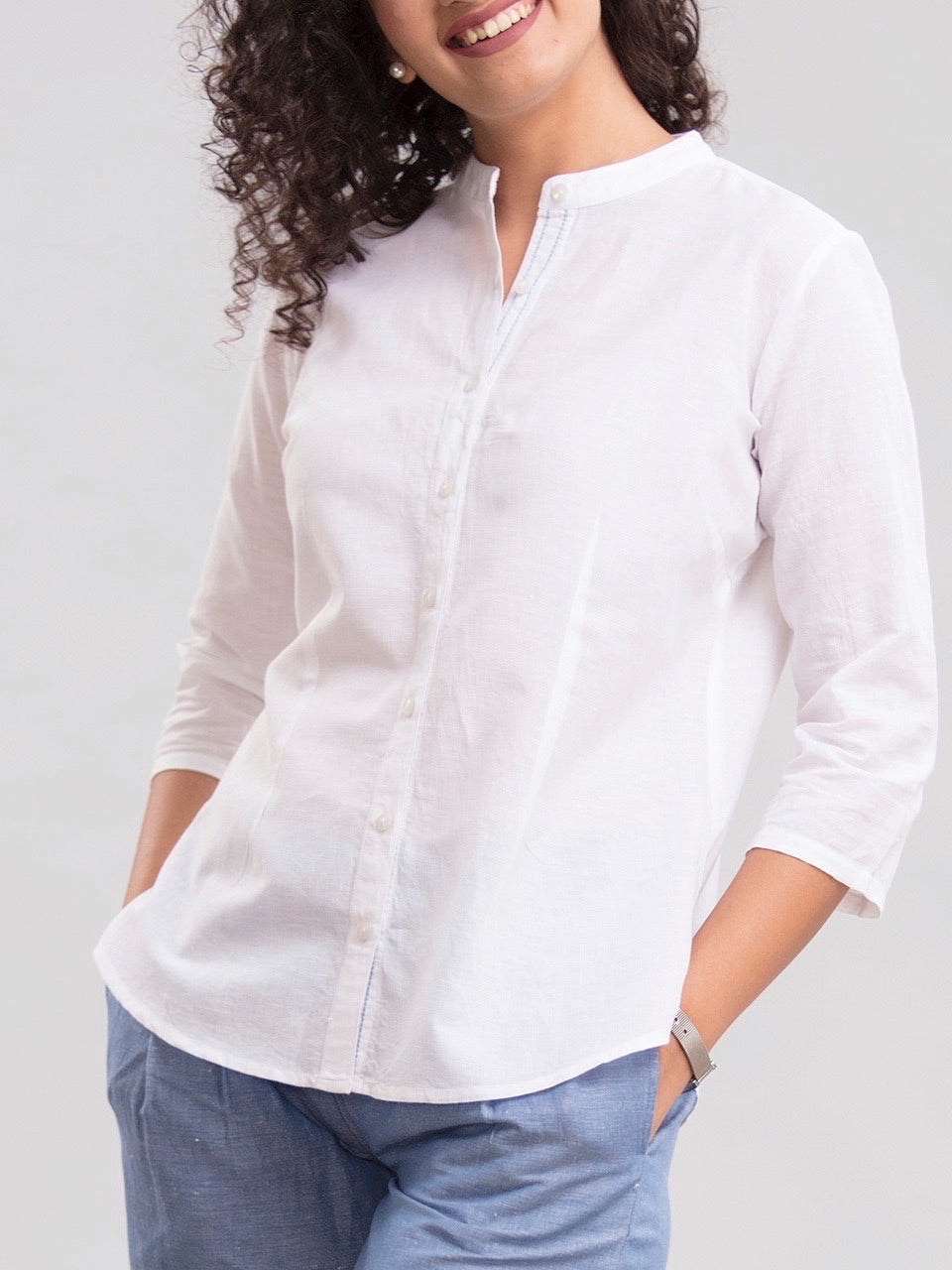Mandarin Collared Linen Shirt - White