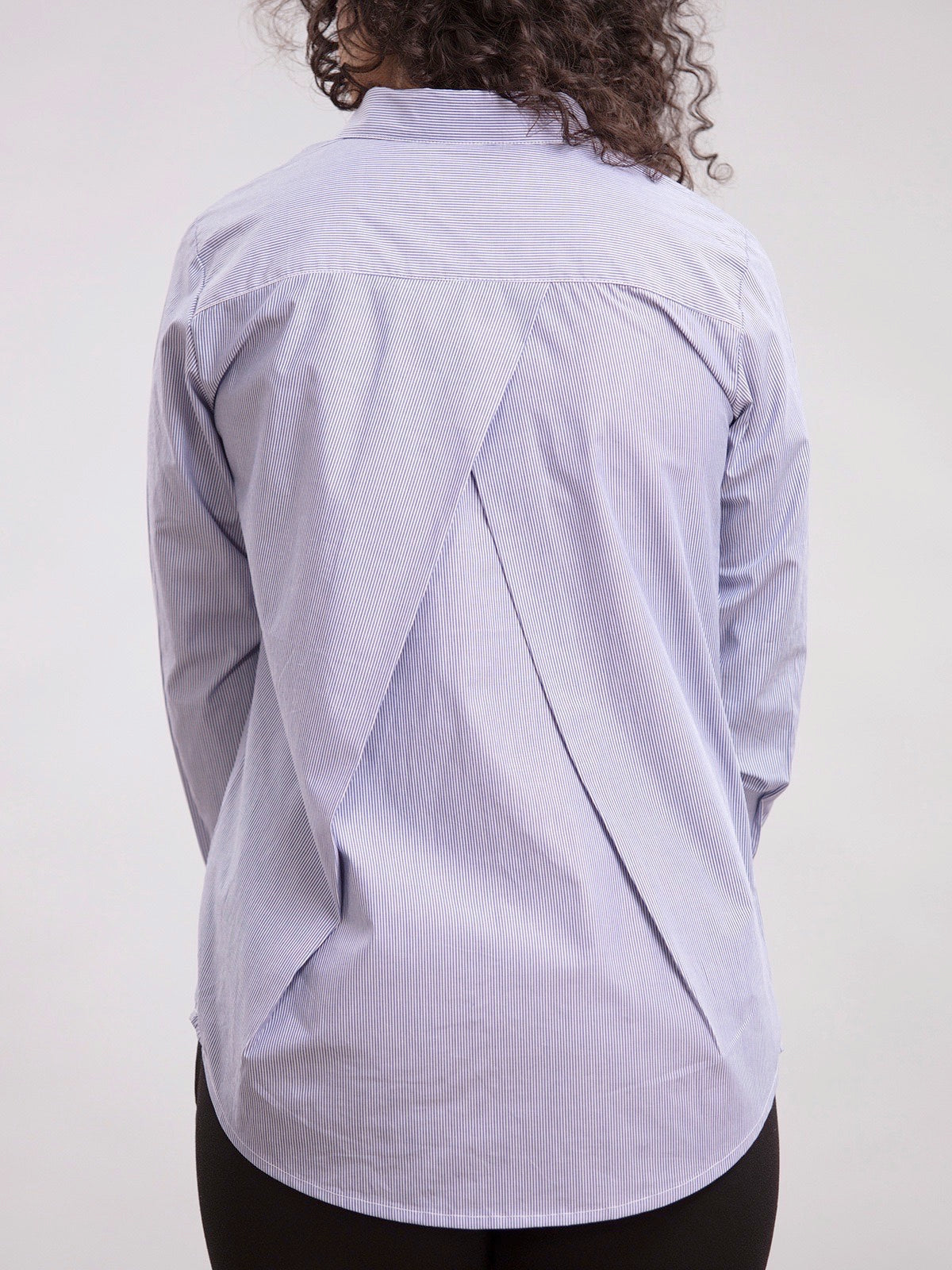 Back Pleated Shirt - Blue Stripes