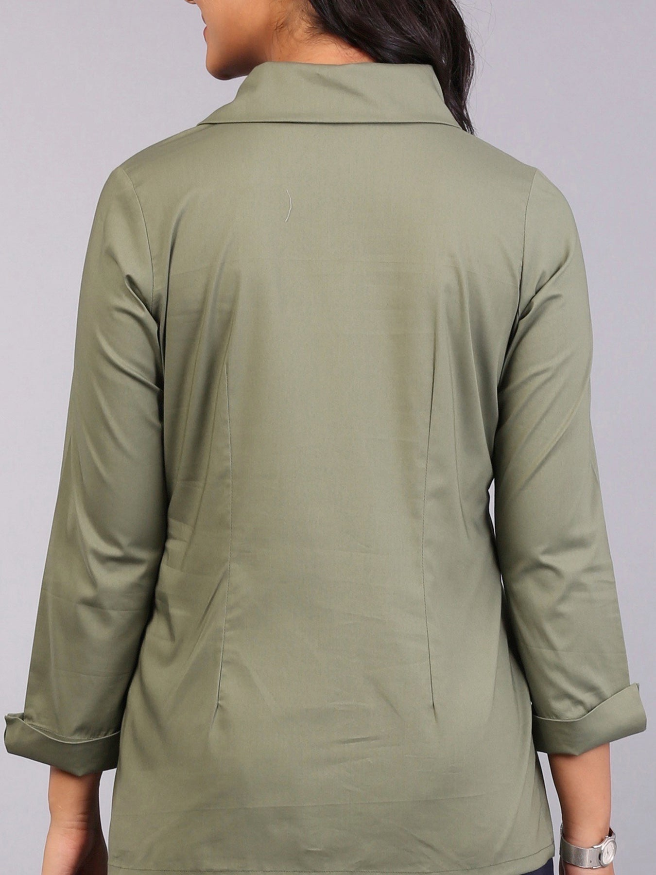 Diagonal Placket Shirt - Olive