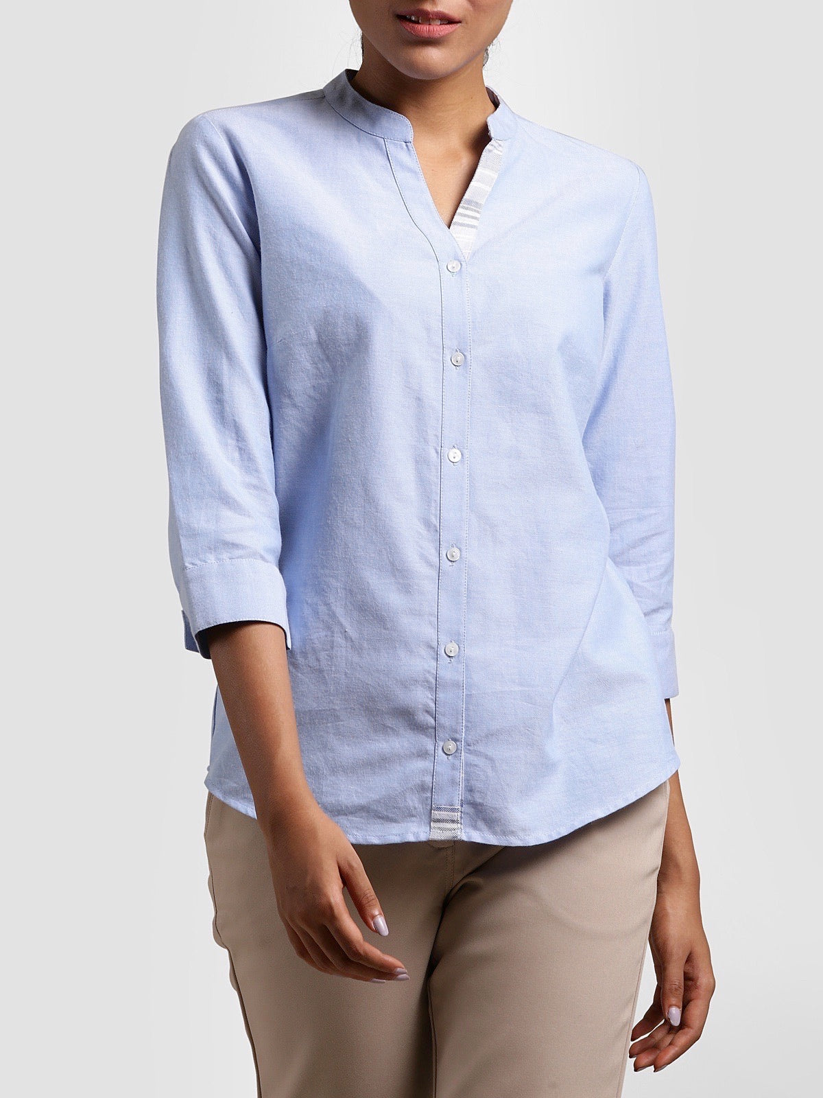 Mandarin Collar Quarter Sleeve Shirt - Blue