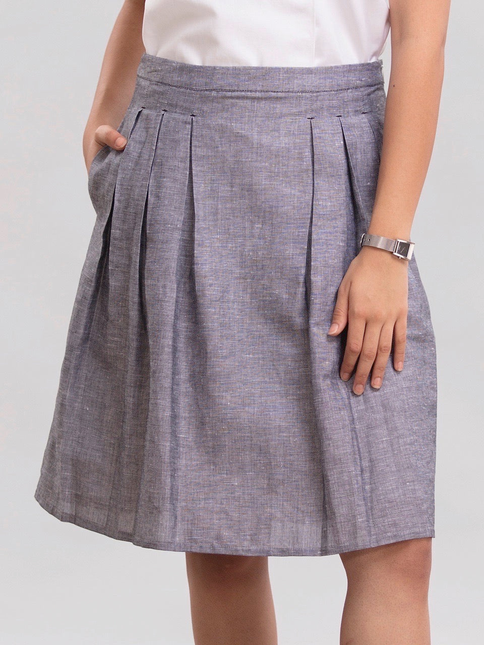 Pleated Linen A line Skirt - Chambray Black
