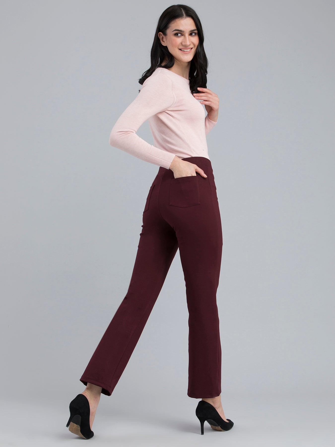 4 Way Stretch Slim Fit LivIn Jeggings - Maroon