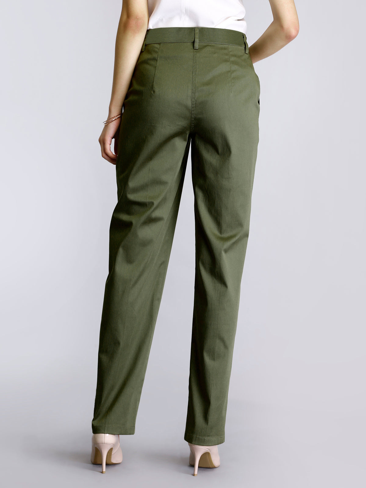 Straight Fit Pants - Olive