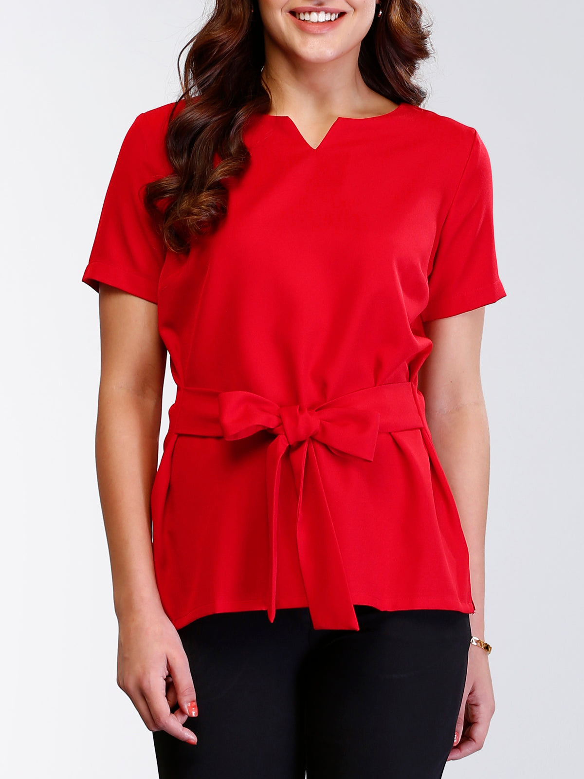 Stylised Neck Belted Top - Poppy Red
