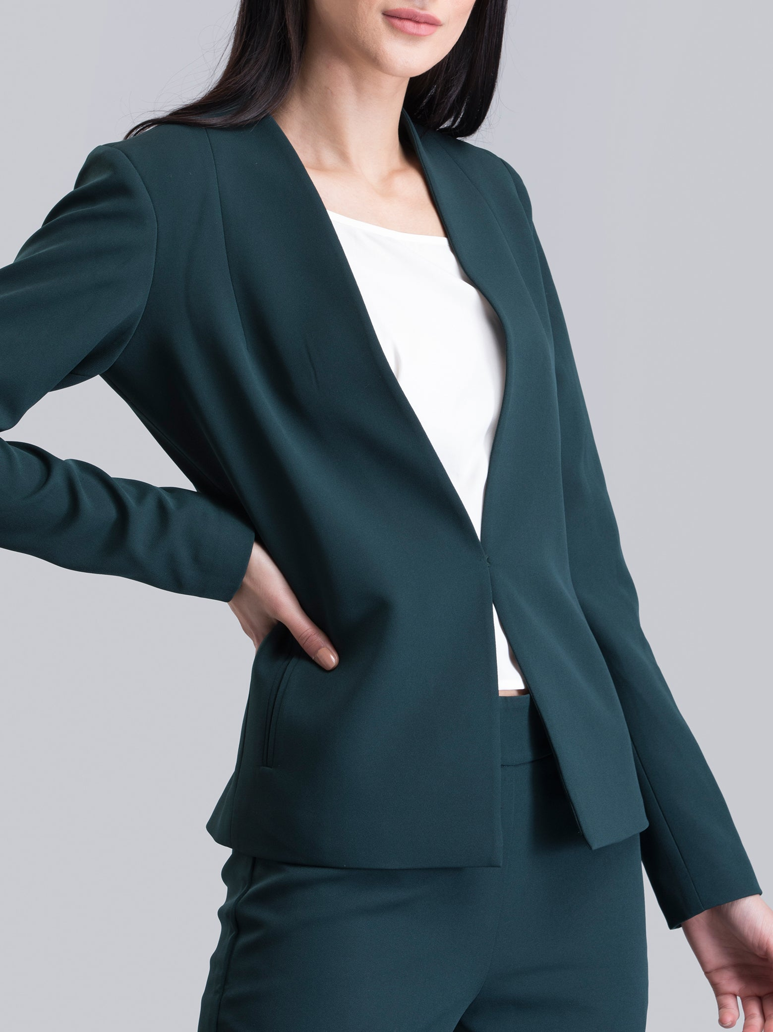 Stylish Hook Closure Jacket - Green