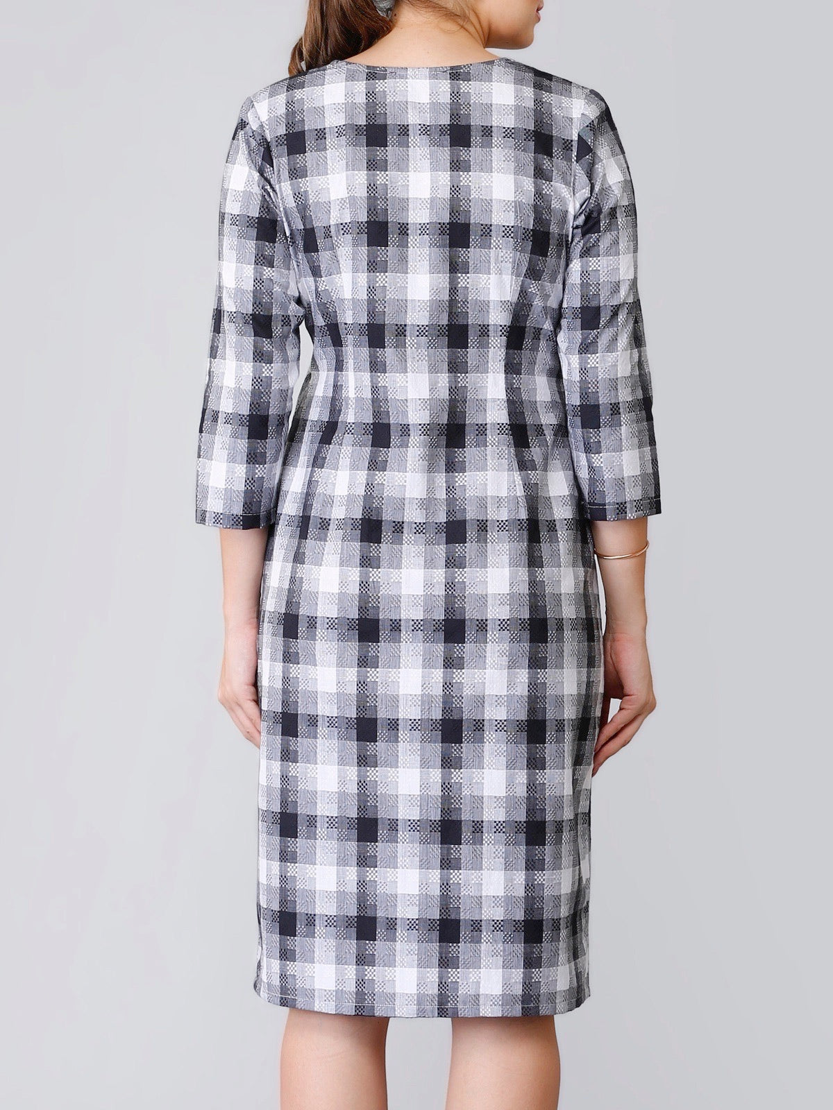 Textured Plaid Straight Fit Dress - Black