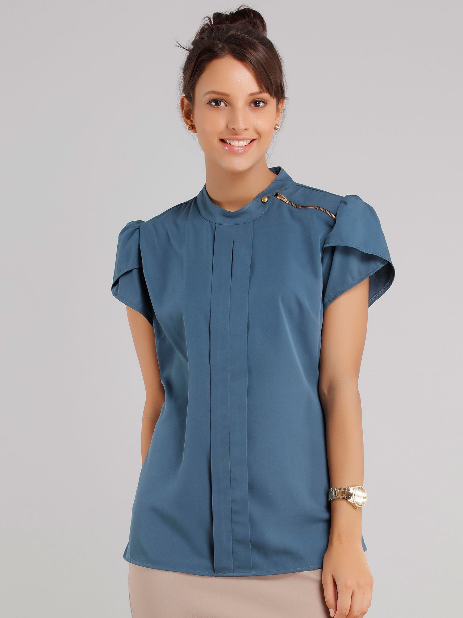 Collared Zipper Top - Blue