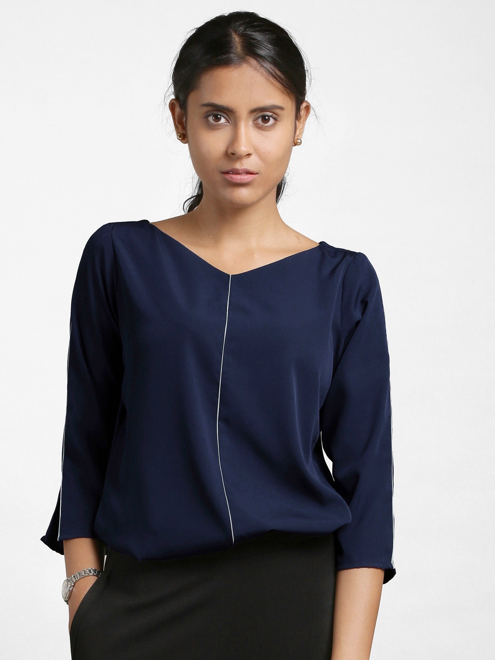 Quarter Sleeves Wide V Neck Top - Navy