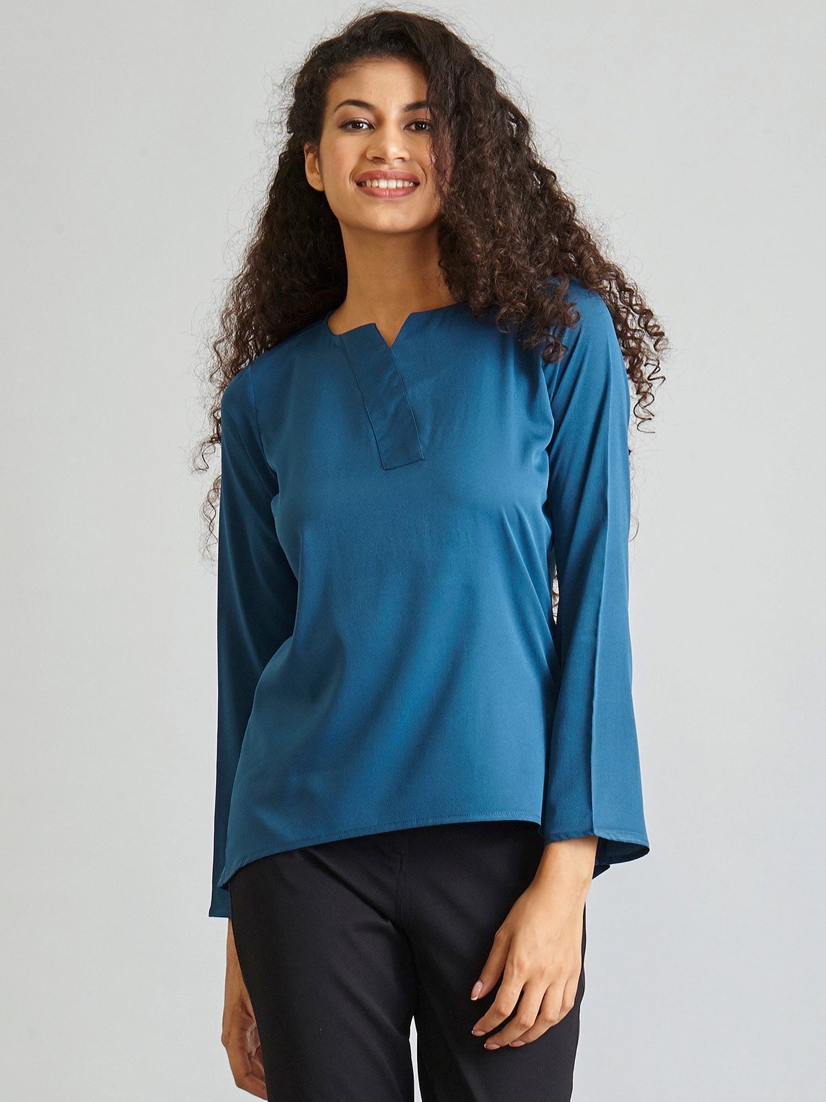Round Neck Detailed Top - Peacock Blue