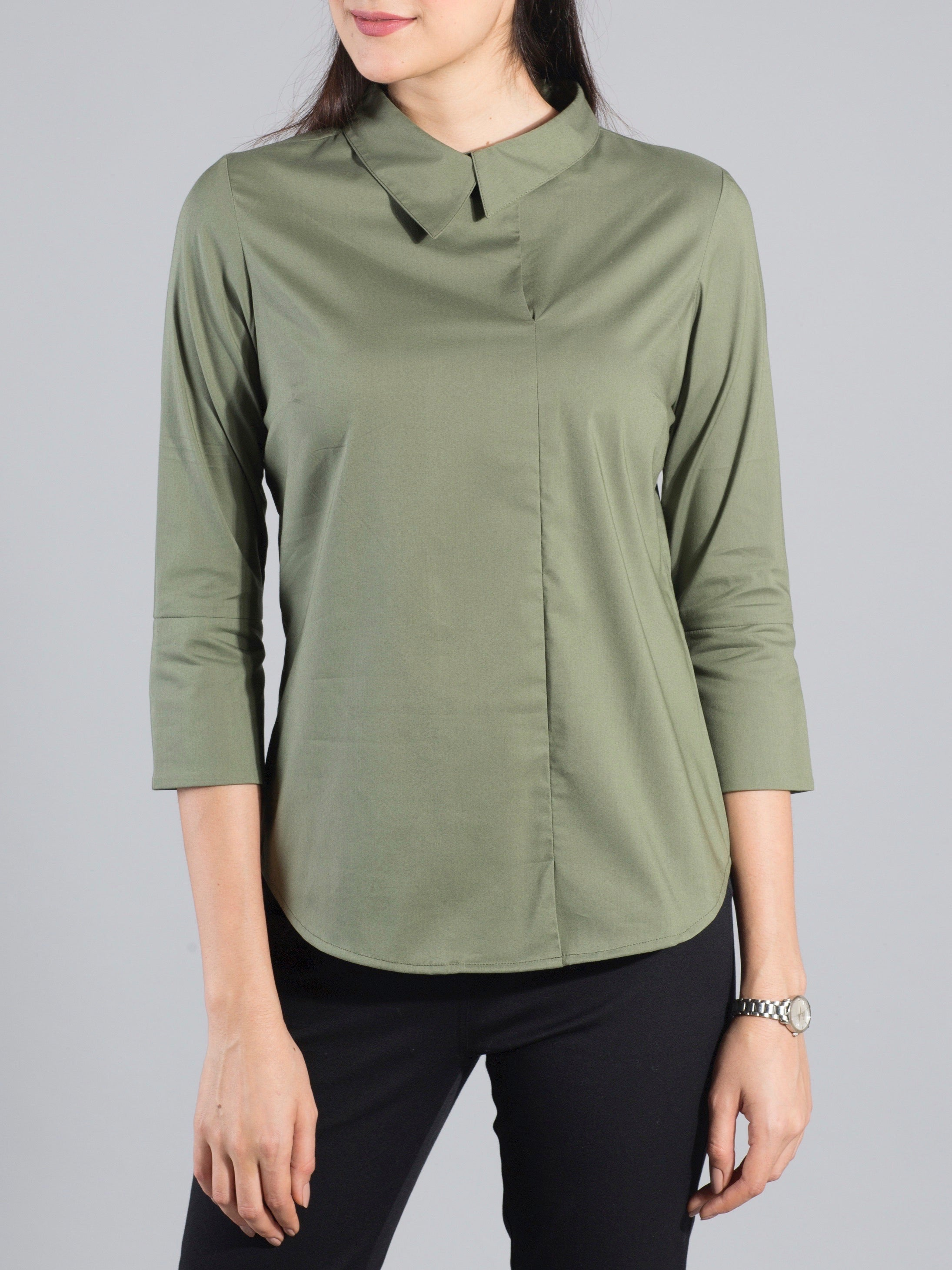 Quarter Sleeve Asymmetric Collar Top - Olive