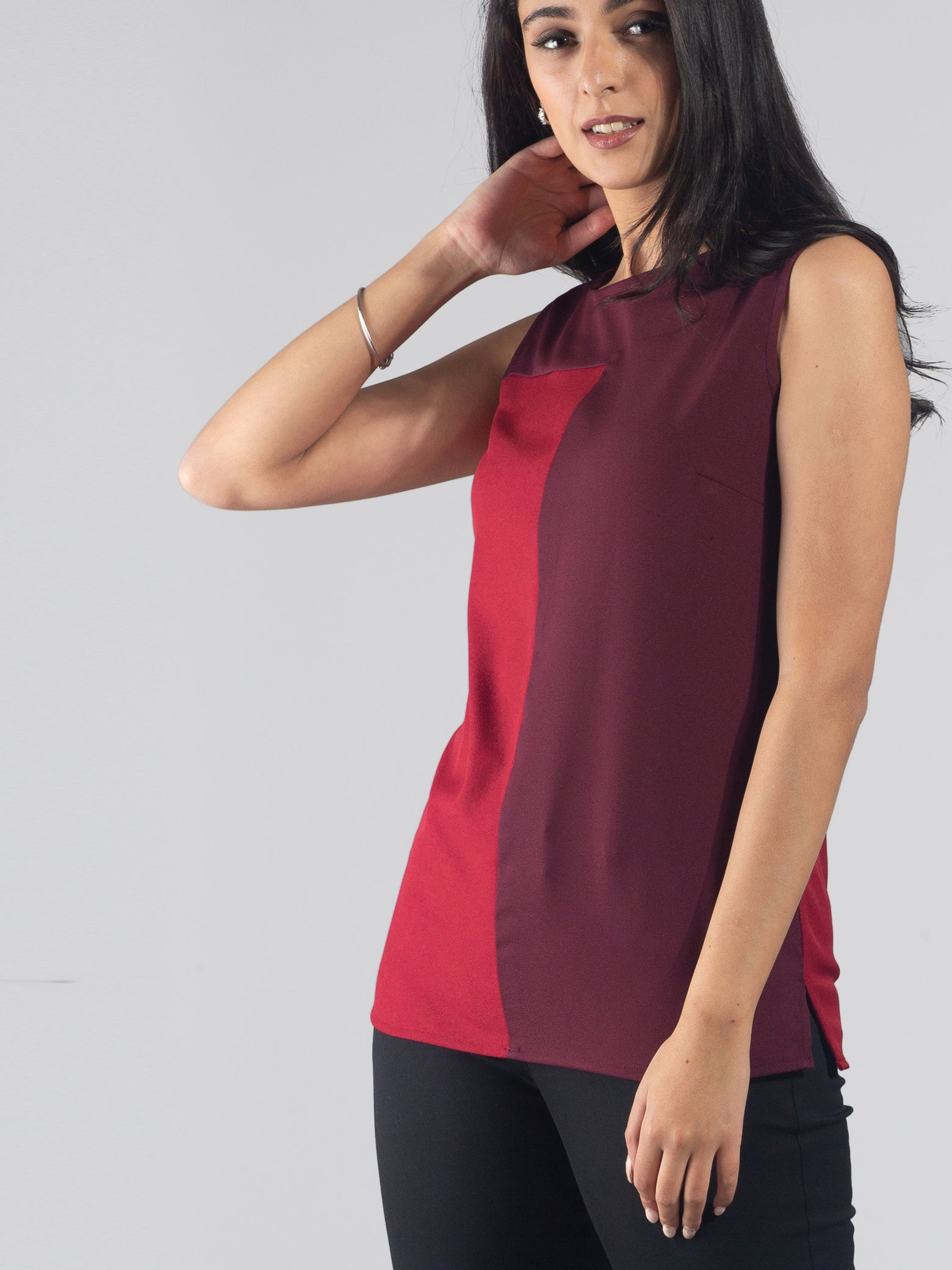 Colour Block Top - Maroon & Carmine Red