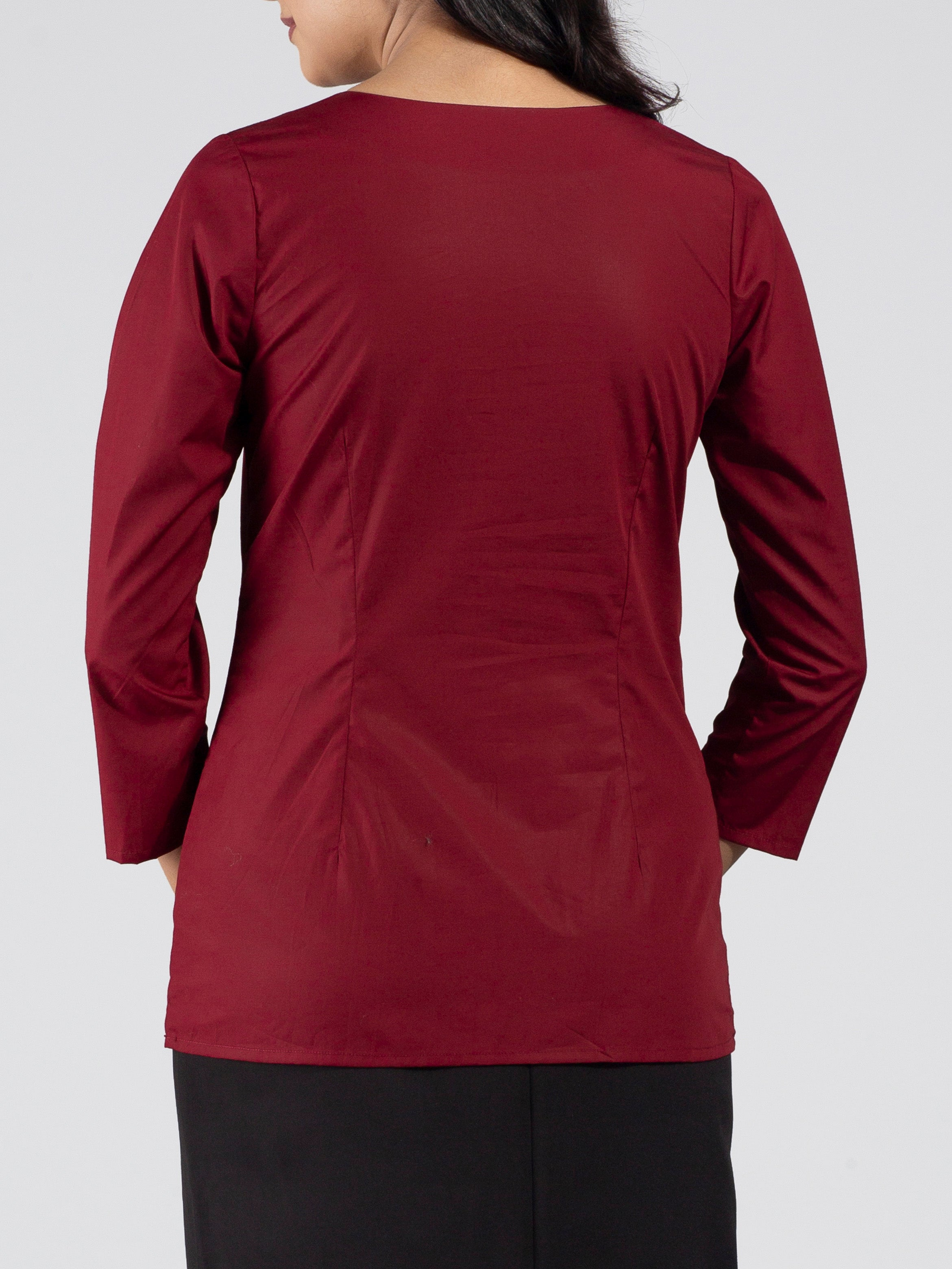 Quarter Sleeve Front Button Round Neck Top - Deep Red