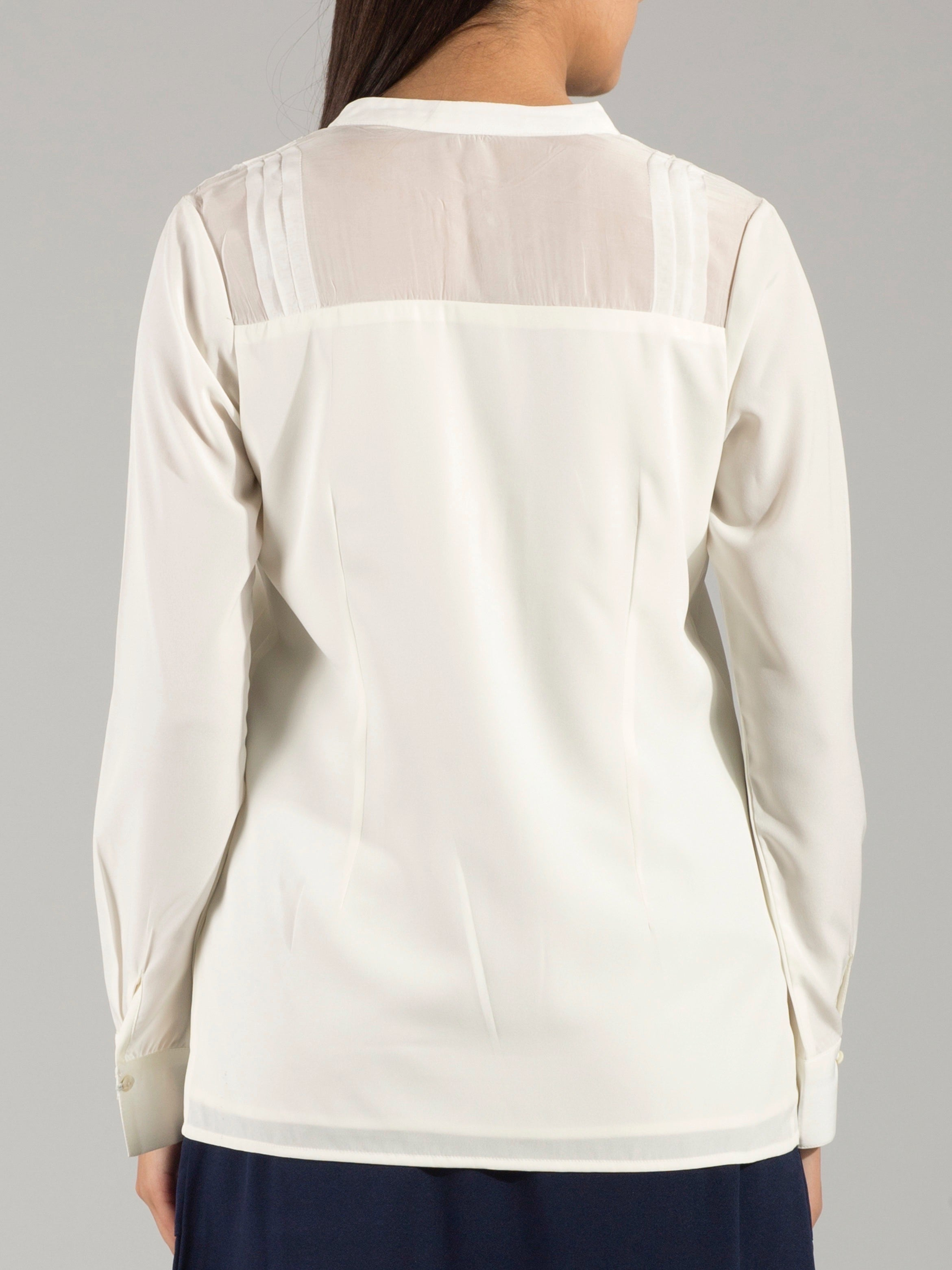 Open Mandarin Collar Pleated Sheer Yoke Top - Off White