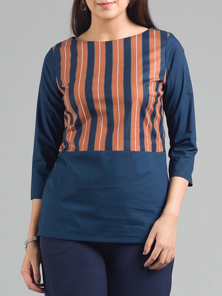Boat Neck Striped Top - Rust