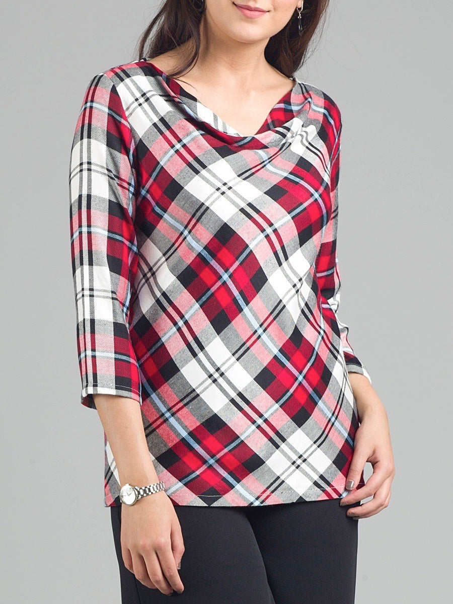 Cowl Neck Plaid Top With 3-4 Sleeves - Red