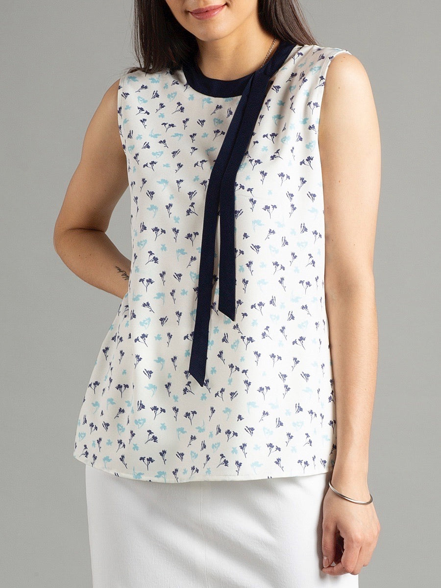 Side Tie Floral Top - White & Blue