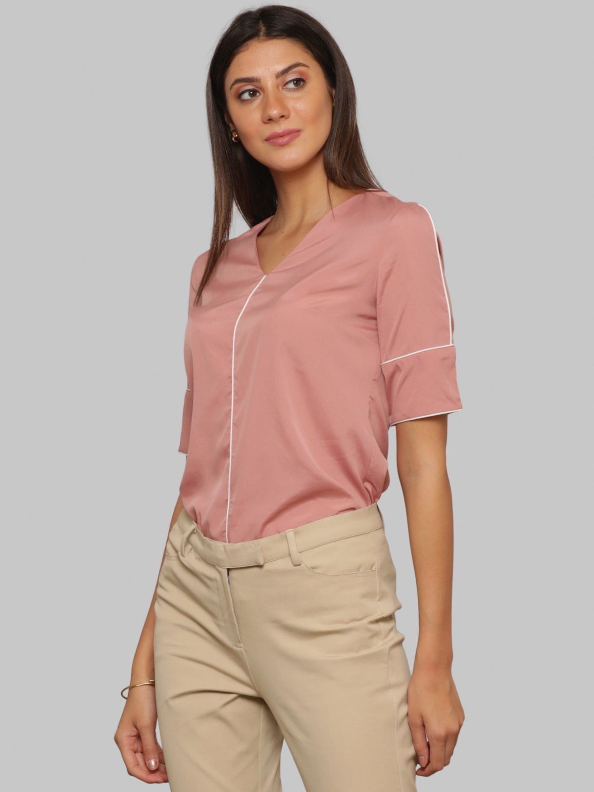 V Neck Top With Piping And Elbow Length Sleeves - Pink