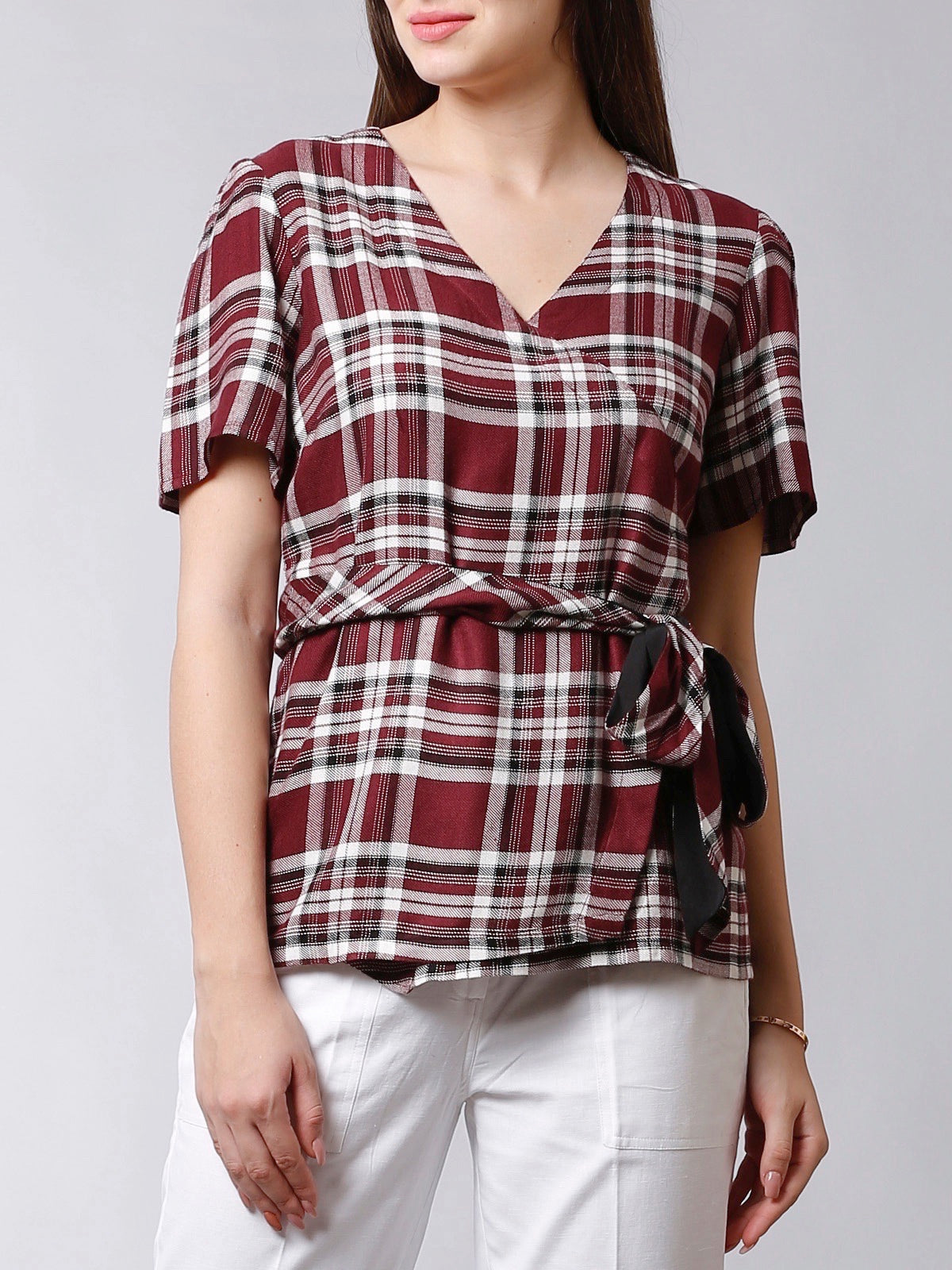 V neck Faux Wrap Top With Belt - Maroon Plaid