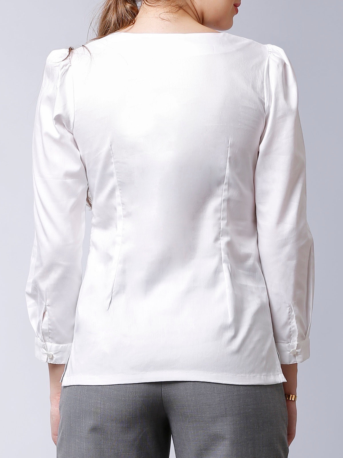 Round Neck Top With Pleats - White