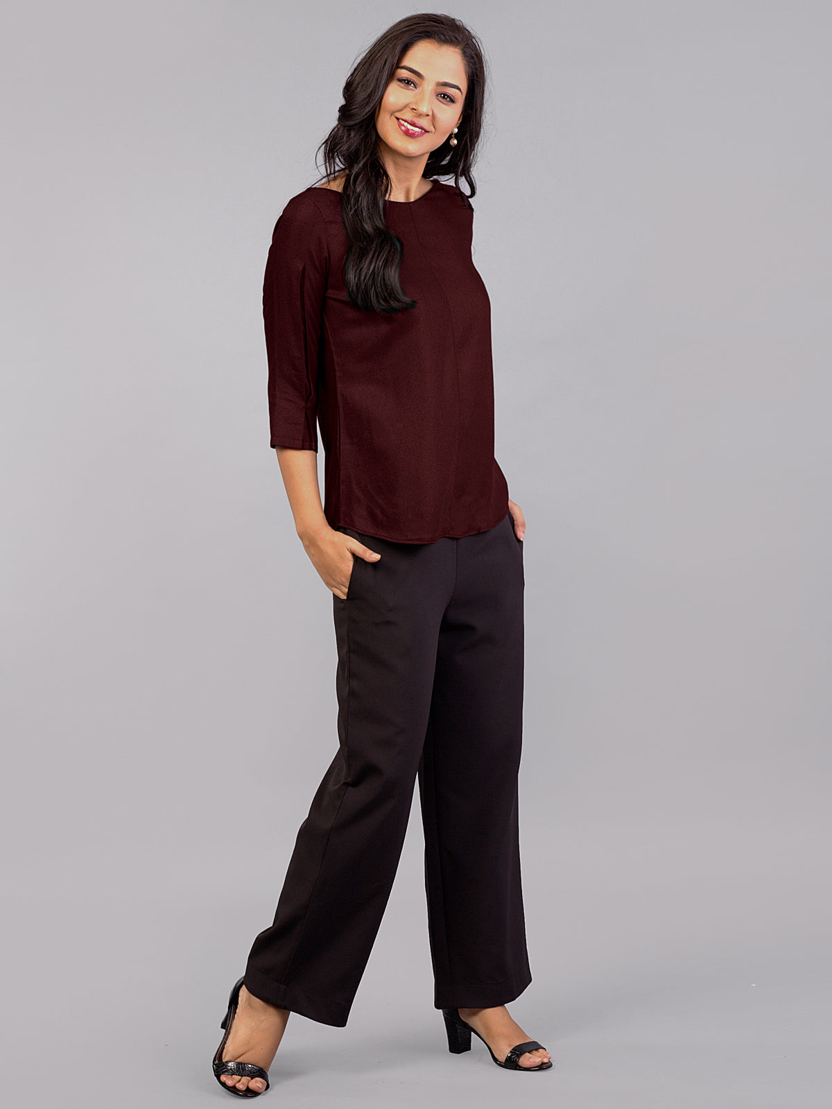 Wide V Neck Top - Maroon