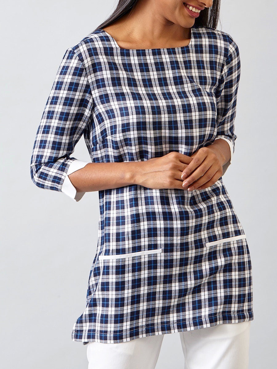 Front Pocket Tunic - Navy Plaid