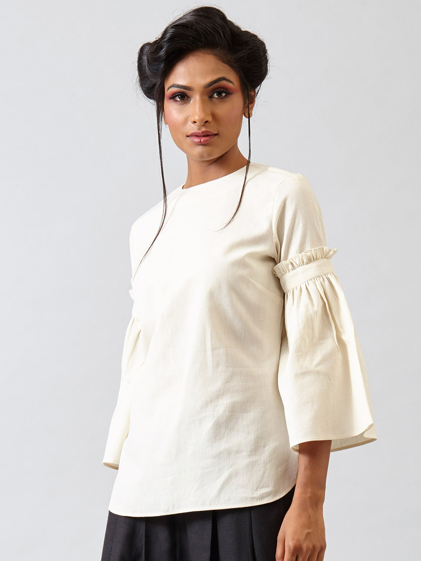 Gathered Bell Sleeved Top - Ivory