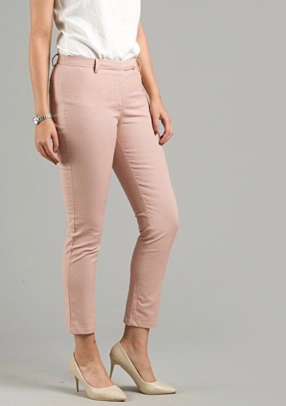 Essential Cropped Linen Trousers - Pink