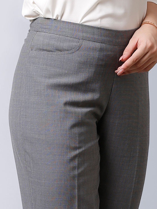 Formal Straight Fit Pants With Front Crease - Grey