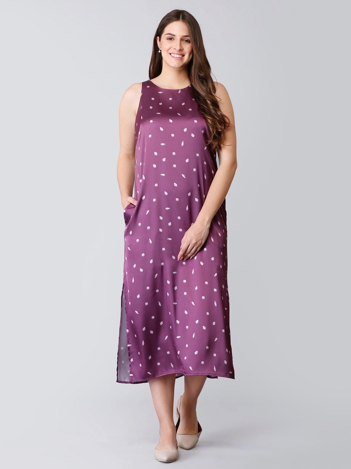 Sleeveless Round Neck Brush Print Satin Midi Dress - Twilight Purple