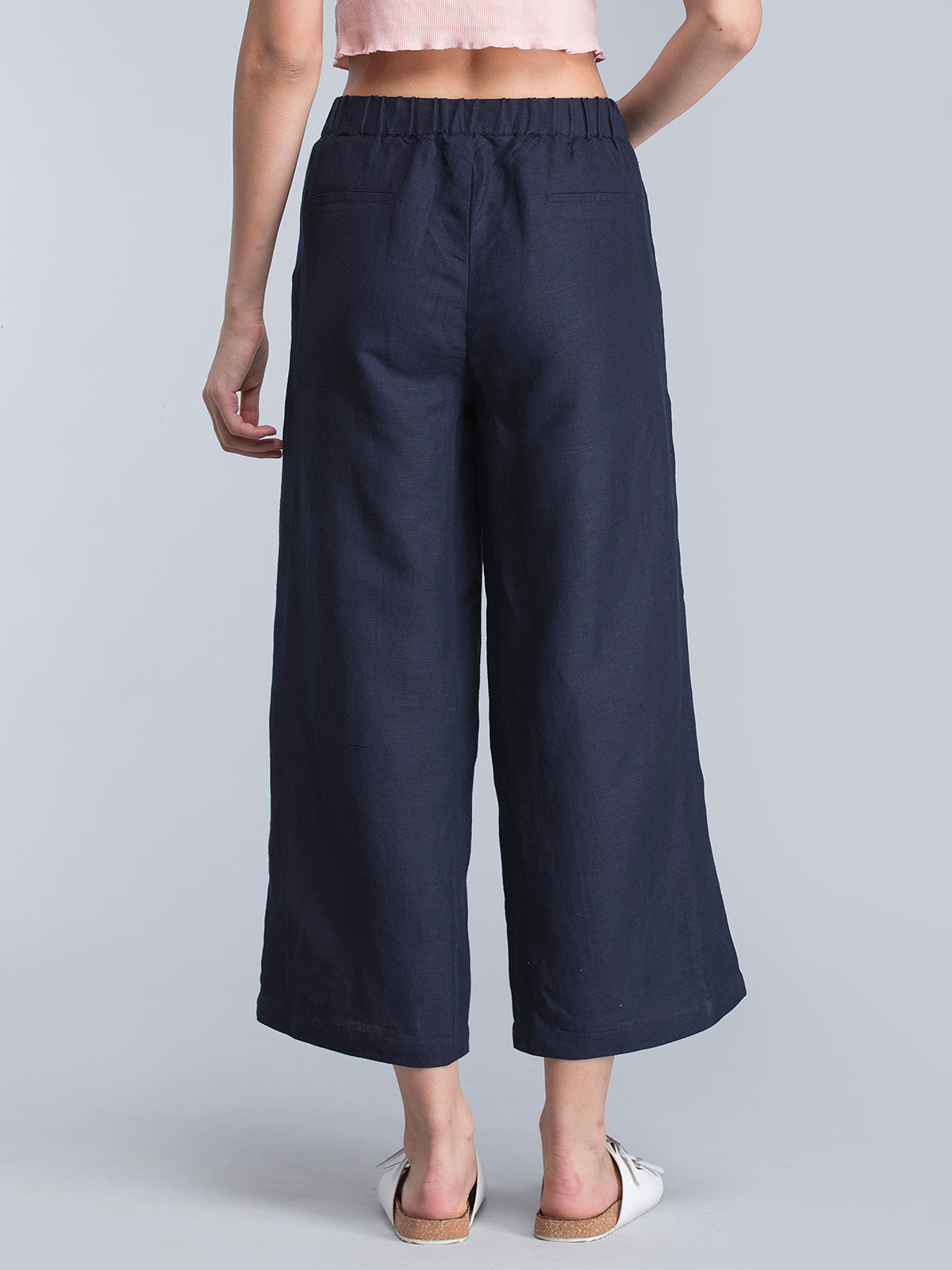 Wide Leg Pants With Elasticated Band - Navy