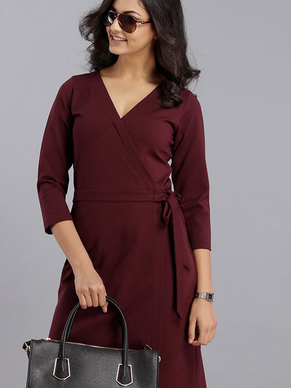 Wrap Dress - Maroon