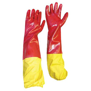 13-1003234 PVC Red Smooth Palm Shoulder Glove with Yellow Elasticated Attachment