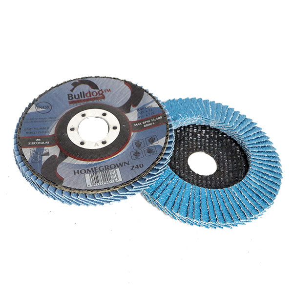 Bulldog Flap Sanding Disc Angled Blue Zirc 115mm X 22mm