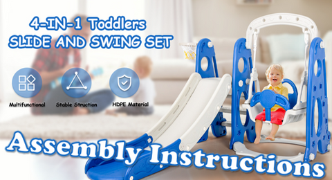4 in 1 Toddler Climber & Swing Set with Basketball Hoop 2021 / How to Assemble (Easy!)