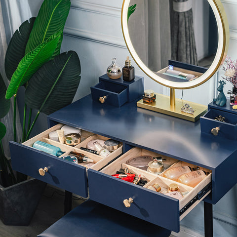 ARTETHYS Makeup Vanity Table Set 3 LED Touch Screen Lighted Brightness Adjustable Mirror With 4 Drawer PU Cushion Stool Modern Blue Dressing Table Easy Assembly